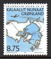 Danmark Gronland 0392 Avion , Carte Du Pole Nord - Polar Philately