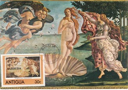 Carte Maximum Peinture Barbuda Barbade 1980 Botticelli - Barbados (1966-...)