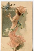 1480. CPA ILLUSTRATEUR SIGNEE CS. FEMME ET SINGE SUR PORTEE MUSICALE 1905 - Illustratoren & Fotografen