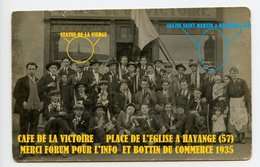 CARTE PHOTO E.TUTKOVITS à KRONENBOURG - CONSCRITS - MAYANGE PLACE DE L'EGLISE SAINT MARTIN - CAFE DE LA VICTOIRE - - Hayange