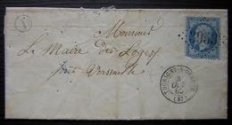 Voisines (Yonne) 1865 Boîte Rurale I Cachet De Thorigny Sur Oreuse Gc 3953 - Postmark Collection (Covers)