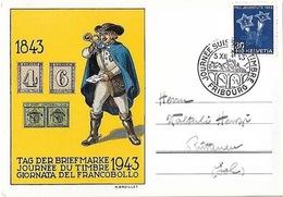 Schweiz Suisse 1943: Pro Juventute Zu 108 Mi 427 Yv 391 CPI O JOURNÉE SUISSE DU TIMBRE 5.XII.43 FRIBOURG (Zu CHF 28.00) - Tag Der Briefmarke