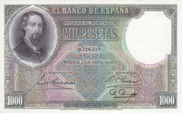BILLETE DE ESPAÑA DE 1000 PTAS DEL AÑO 1931 SIN SERIE SIN CIRCULAR (UNCIRCULATED) MUY RARO - 1000 Pesetas