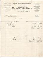 Facture - Vieux Papier - M. Autié  à Epinal Rue Dognevilel - Papiers Peints En Tout Genres - Vosges  - 88 - France