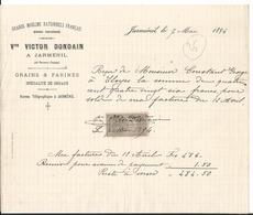 Facture - Vieux Papier - 1894 - Victor Dondain - Grands Moulins Rationnels Francais  - Jarménil - Vosges  - 88 - France