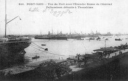 3562 Cpa Egypte - Port Saïd, Vue Du Port Avec L'Escadre Russe De L'Amiral Felkersham - Port Said