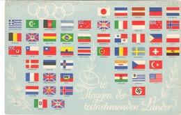 """Propaganda Karte III. Reich, Olympia """" Die Flaggen Der Teilnehmenden Länder """" Stpl. Reichssportfeld Berlin - Weltkrieg 1939-45"""