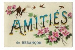 Carte Illustrée Branche Fleurie, Hirondelles - Amitiés De Besançon - Circulé 1917 - Besancon