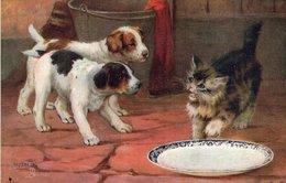 "3579 Cpa Chat Et Chiens - Raphael Tuck & Sons "" Oilette"" - Cats"
