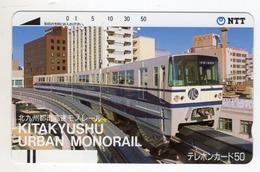JAPON TELECARTE ANCIENNE NTT FRONTBAR BARCODE 390-065 TRAIN - Trains