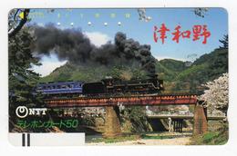 JAPON TELECARTE ANCIENNE NTT FRONTBAR BARCODE 350-049 TRAIN Annee 1987 - Trains