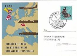 Schweiz Suisse 1950: Pro Juventute  Zu 134 Mi 551 Yv 503 Bild-PK O TAG DER BRIEFMARKE 3.XII.50 GRENCHEN (Zu CHF 14.00) - Tag Der Briefmarke
