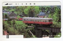 JAPON TELECARTE ANCIENNE NTT FRONTBAR BARCODE 250-035 TRAIN Annee 1986 KOMINATO LINE - Trains