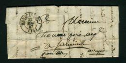 LETTRE  DE  MONTPELLIER  CAD  DU 22 MAI  1847  POUR  CASSAGNE-BEGONDHE PAR RODEZ  . - Marcophilie (Lettres)