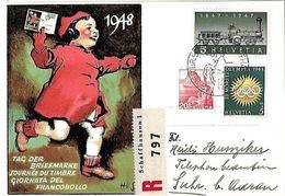 Schweiz Suisse 1948: Bild-PK ( R797) Mit O TAG DER BRIEFMARKE 5.XII.48 SCHAFFHAUSEN (Zu CHF 14.00) - Tag Der Briefmarke