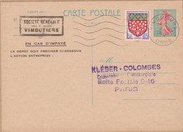 CARTE  TYPE  SEMEUSE LIGNEE DE PIEL 0.20C  1965 VIMOUTIERS - Entiers Postaux
