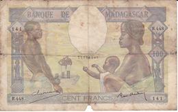 BILLETE DE MADAGASCAR DE 100 FRANCS DEL AÑO 1937  (BANKNOTE) - Madagascar