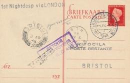 Nederland / UK - 1948 - 12,5 Cent Wilhelmina Type Hartz, Briefkaart G295, First Nightdesp Amsterdam - Bristol Via London - Luftpost