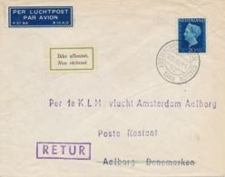 Nederland / Danmark - 1948 - 20 Cent Wilhelmina Type Hartz Op Cover First Flight Amsterdam - Aalborg - Luftpost
