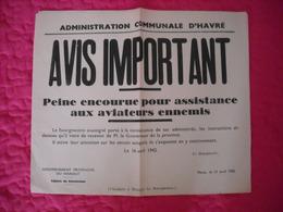 Avis Communal émanant Des Autorités Allemandes (assistance Aux Aviateurs Ennemis) 1942 - 1939-45