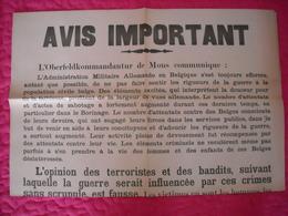 Avis Communal émanant Des Autorités Allemandes (attentats Et Sabotage) 1943 - 1939-45