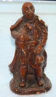 ANCIENNE SCULPTURE PLATRE GENRE SANTON BERGER AVEC AGNEAU / 24.5 Cm - Sculture