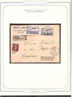 Lettre AVION TARIF EXPRÈS 1937 Lourdes → Bordeaux 3fr15 - Airmail