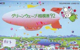 Telecarte JAPON * (1907) BALLON * MONTGOLFIERE - Hot Air Balloon * Aerostato * Heißluft PHONECARD JAPAN - - Sport