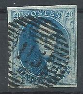 N°7, 20c Bleu Margé P115 Thielt - 1851-1857 Médaillons (6/8)