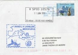Mission MEDOR 2013 Aviso LV LAVALLEE Méditerranée Cachet V SPID 10576 Roissy 11/6/2013 - Posta Marittima