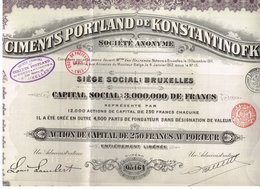 Titre Ancien - Ciments Portland De Konstantinofka - Société Anonyme - Titre De 1912 - - Russie
