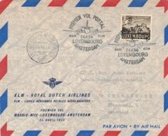 Nederland / Espagne - 1956 - Trajectpost  Luxembourg - Amsterdam Op First KLM Flight Madrid - Amsterdam - Luftpost