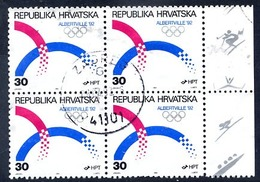 CROATIA 1992 Winter Olympics Block Of 4 Used.  Michel 188 - Croazia