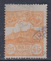 Saint-Marin N° 41 O  Partie De Série : 45 C. Jaune Oblitération Très Légère Sinon TB - Oblitérés