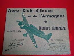 AERO CLUB D EAUZE ET DE L ARMAGANC CARTE DE MAMBRE HONORAIRE 1933 - Autres Communes