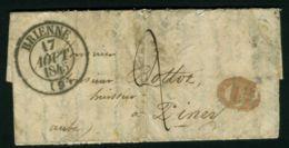 LETTRE  DE  BRIENNE  DU  17  AOUT  1845  POUR  PINEY  . - 1801-1848: Précurseurs XIX