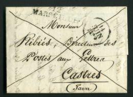 LETTRE  DE  MARSEILLE  DU  14  JUIN  1829  POUR  CASTRES      . - Marcophilie (Lettres)