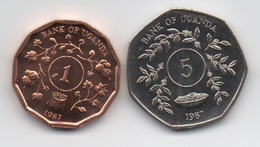 Ouganda Uganda : Lot De 2 Pièces UNC 1987 : 1 Shilling & 5 Shillings (7 Pans) - Oeganda