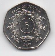 Ouganda Uganda : 5 Shillings 1987 UNC - Ouganda