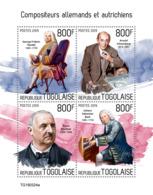Togo 2019 Germany Austria Composers Handel Sebastian Bach Schonberg Bruckner S/S TG190324a - Famous People