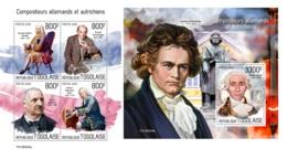 DELUXE IMPERF Togo 2019 Germany Austria Composers Handel Sebastian Bach Schonberg Bruckner MS+S/S TG190324a - Famous People