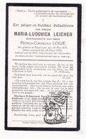 DP Maria L. Leicher Poperinge 1871 † 1930 X PetrusC. Logie - Devotion Images