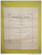 Attestation Sténographie Unitaire - Système Prévost-Delaunay  (degré Théorique) - 1938 - Diplômes & Bulletins Scolaires