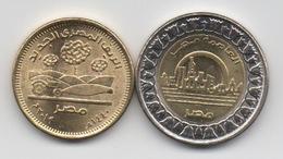 Egypte : Lot De 2 Pièces 2019 UNC Ou Presque : 50 Piastres & 1 Pound (BIMETAL) - Egypte