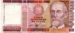 Peru P.149 5000000 Intis 1990  Vf+ - Peru
