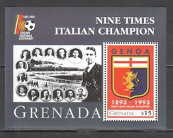 P586 GRENADA SPORTS FOOTBALL GENOA ITALIAN CHAMPION 1BL MNH - Soccer