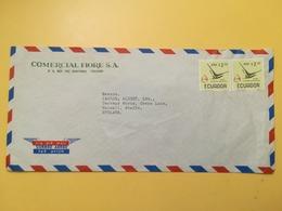 1966 BUSTA INTESTATA EQUADOR BOLLO AIR MAIL BIRDS UCCELLI DESTINAZIONE ENGLAND - Ecuador