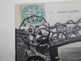 Marcophilie - Lettre Enveloppe Obliteration - Convoyeur Courseulles à Caen - 1907 (2479) - Marcophilie (Lettres)