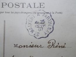 Marcophilie - Lettre Enveloppe Obliteration - Convoyeur St Maxent à Parthenay - 1907 (2483) - Marcophilie (Lettres)