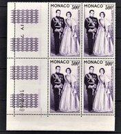 MONACO 1957 / 1959 BLOC DE 4 PA N° 71 - NEUFS** / COIN DE FEUILLE / DATE - Poste Aérienne